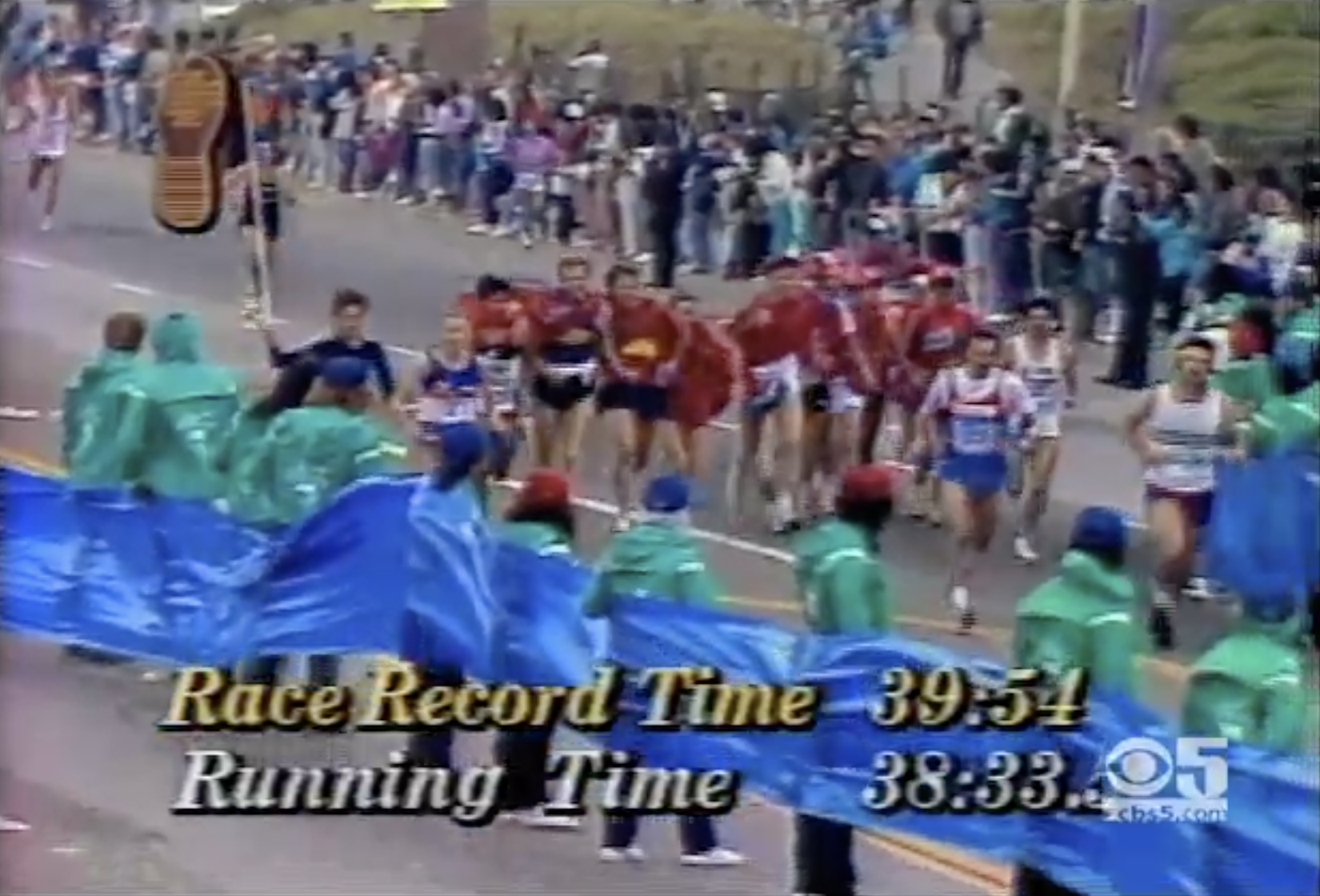 Click to watch 1986 Bay to Breakers Highlights Show. Aggie, Ed Eyestone wins in record time; Men's centipede gets out kicked by Grete Waitz at the finish. 110,000 total participants hit the streets of San Francisco.