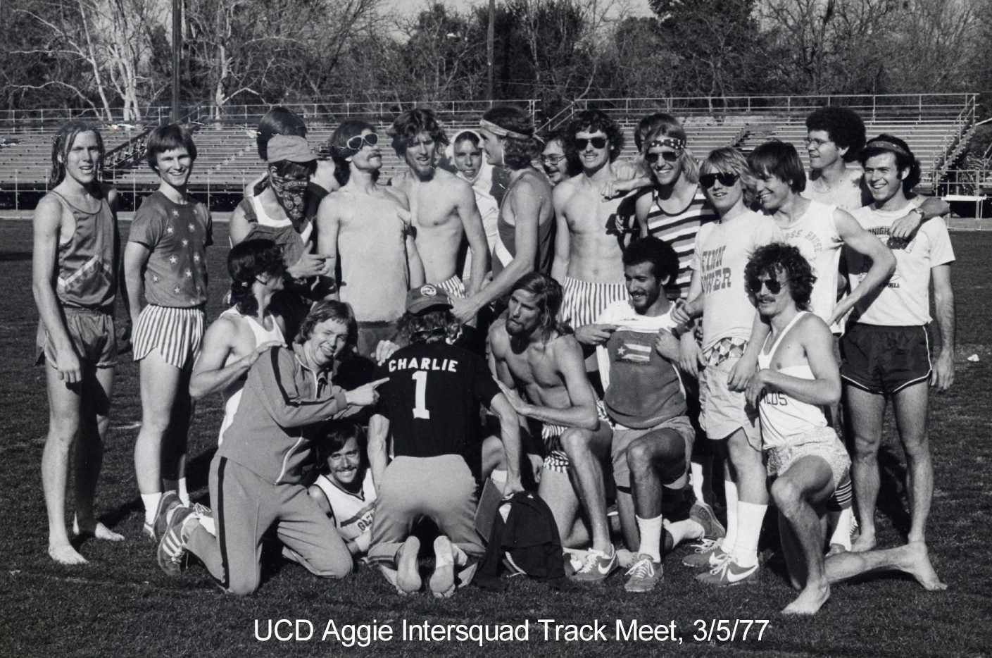 Some of the Aggies founding members after a 1977 UC Davis intersquad meet.