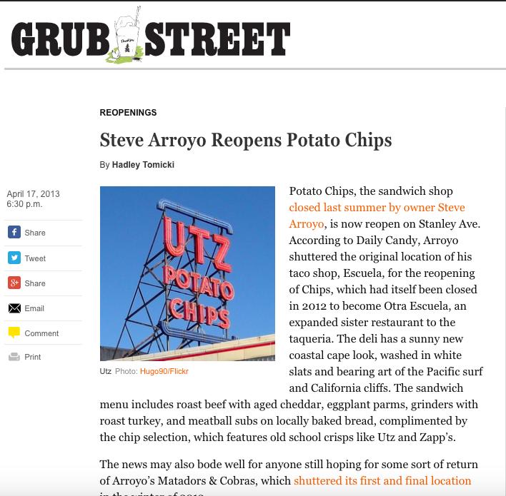 Grub Street:   Steven Arroyo Reopens Potato Chips
