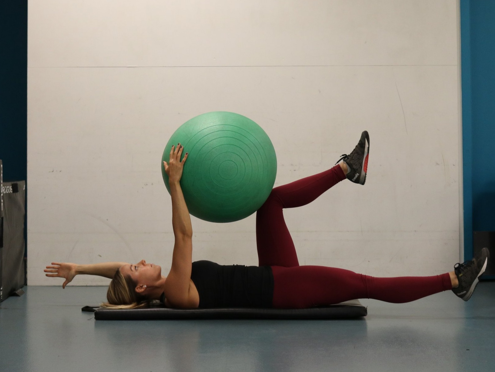 Extend left arm and right leg