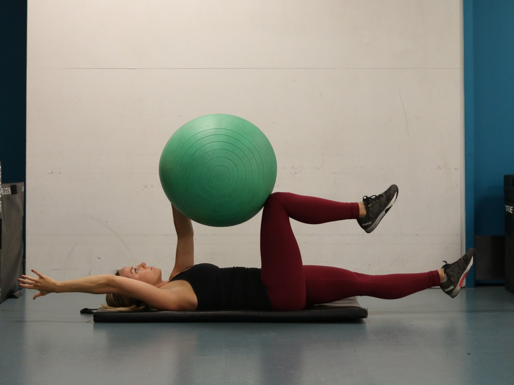 Extend opposite side, right arm and left leg