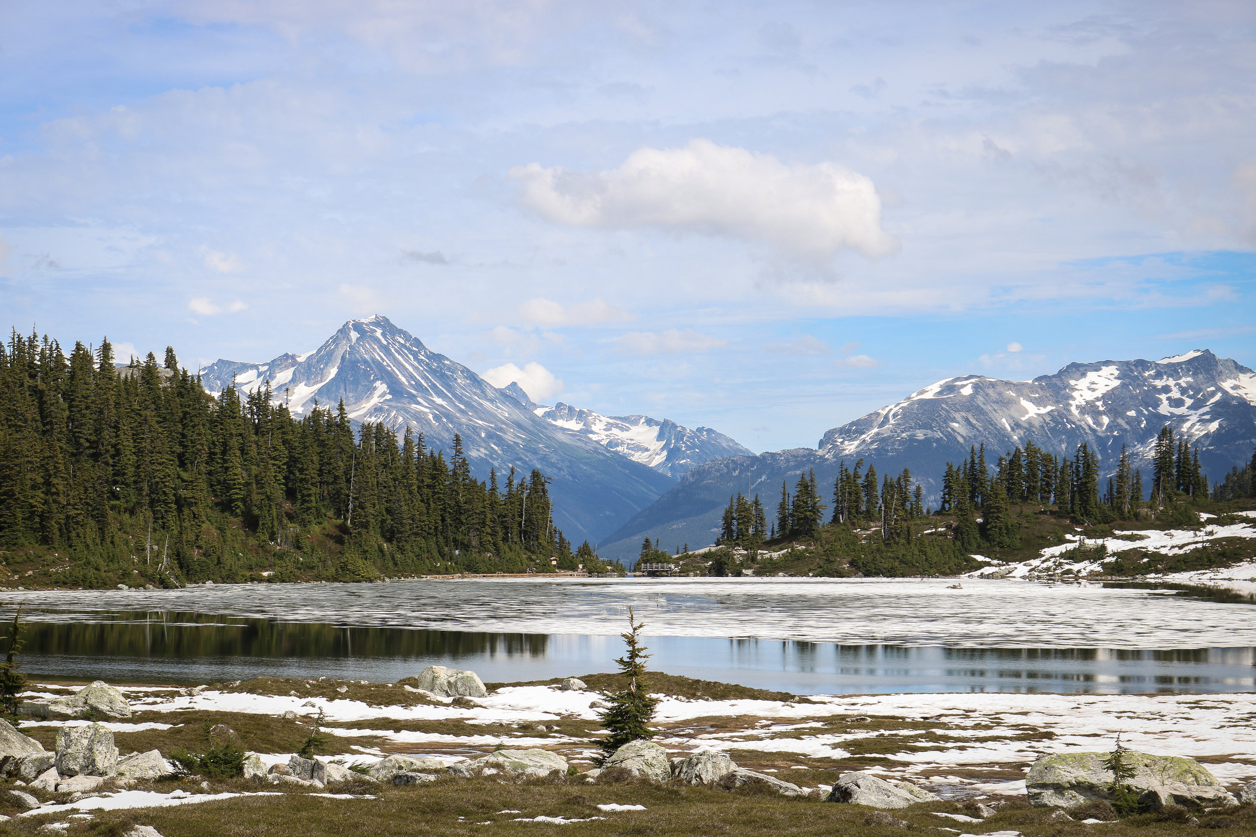 Taking in Wedge Mountain (left) and Blackcomb (right) from the far side of Rainbow Lake
