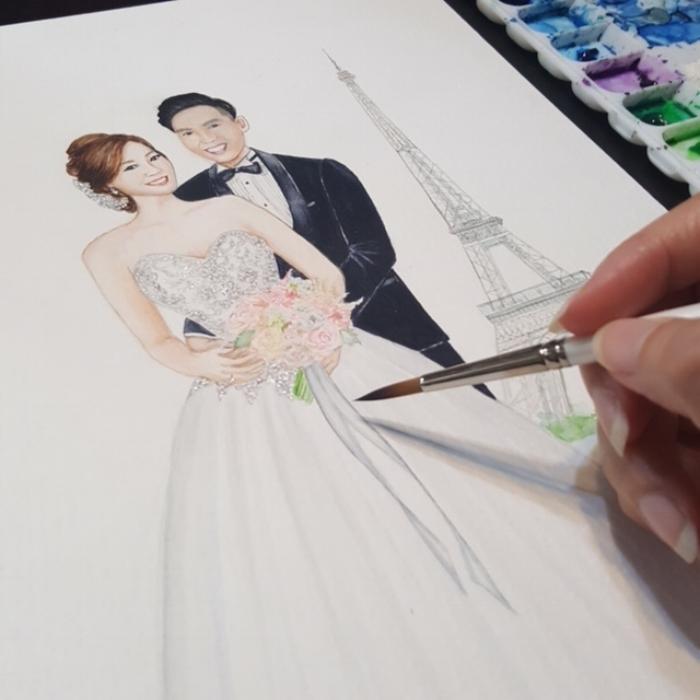 Custom wedding portrait by Draw A Story