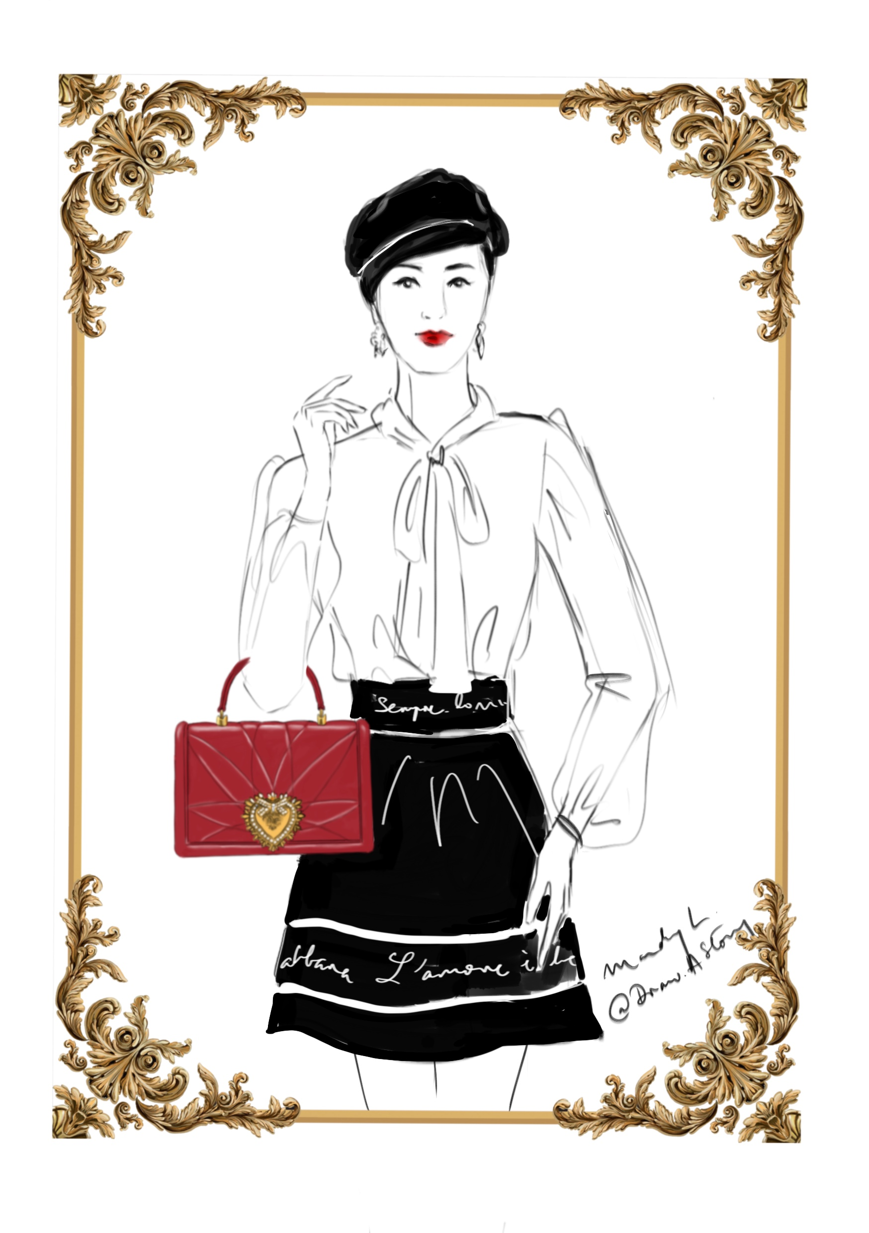 Digital Live Fashion Illustration for Dolce & Gabbana with