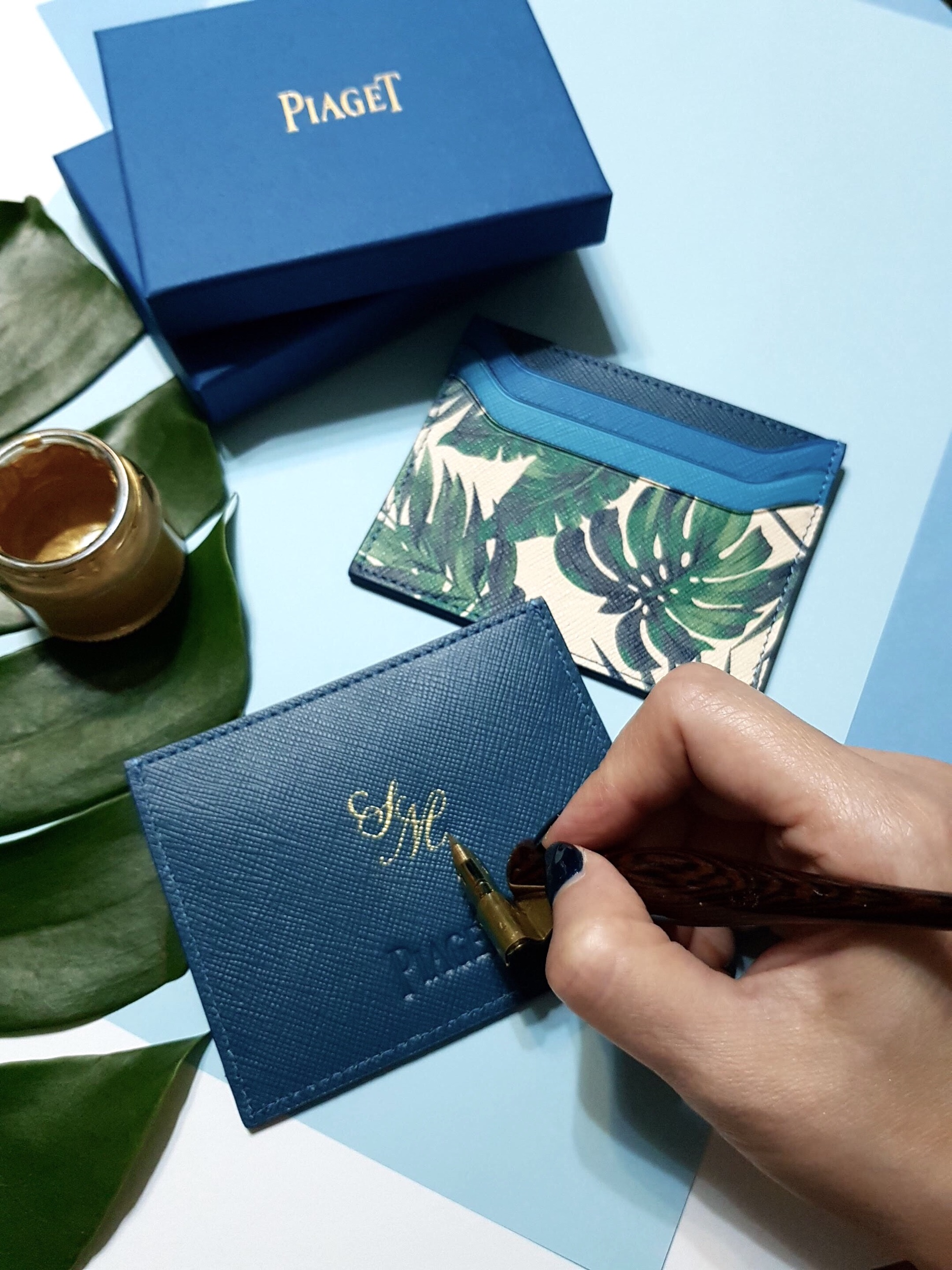 Calligraphy on Leather Namecard Holders for Piaget