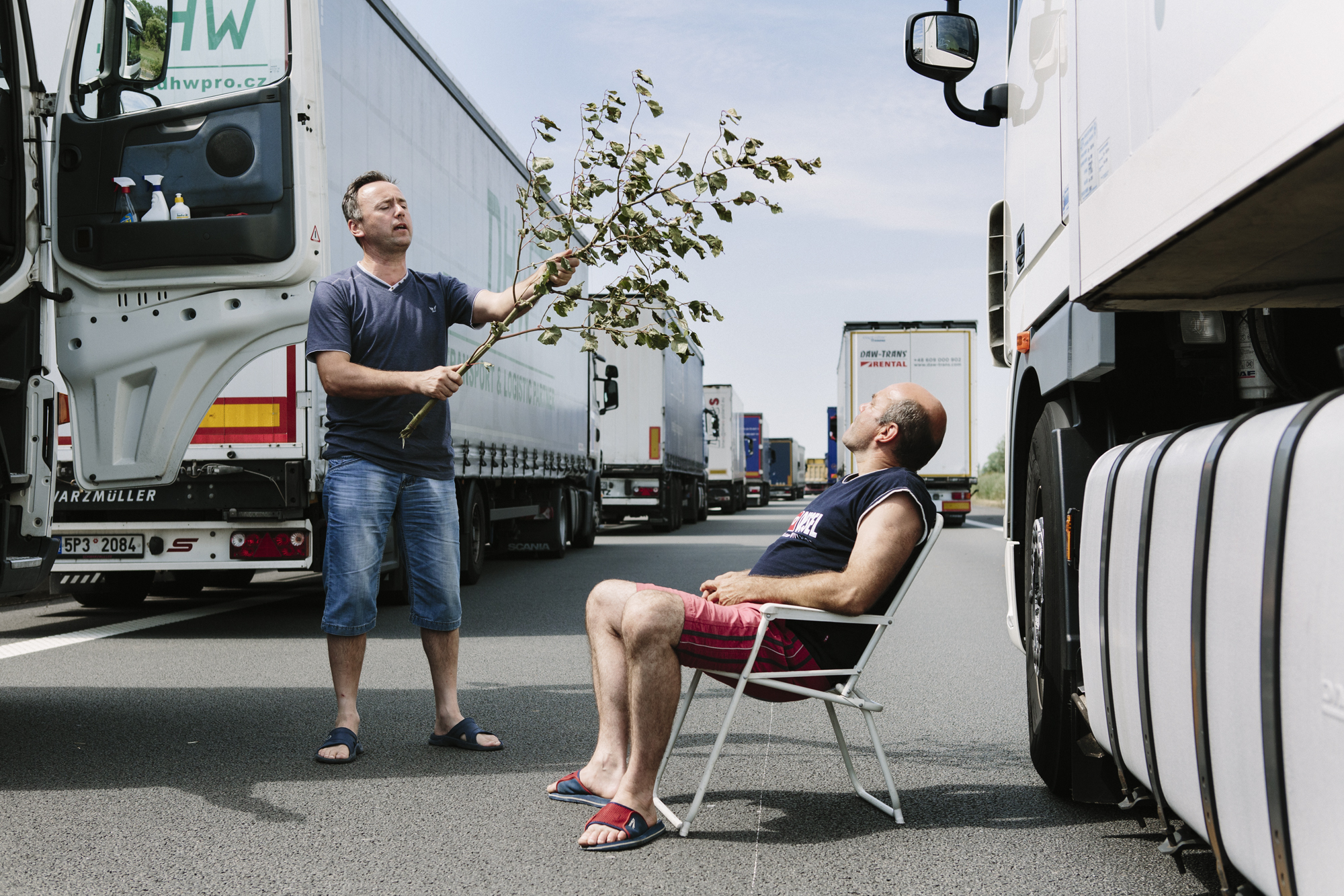 Truckers having fun during the traffic jam caused by the blockage of the port of Calais, 2015