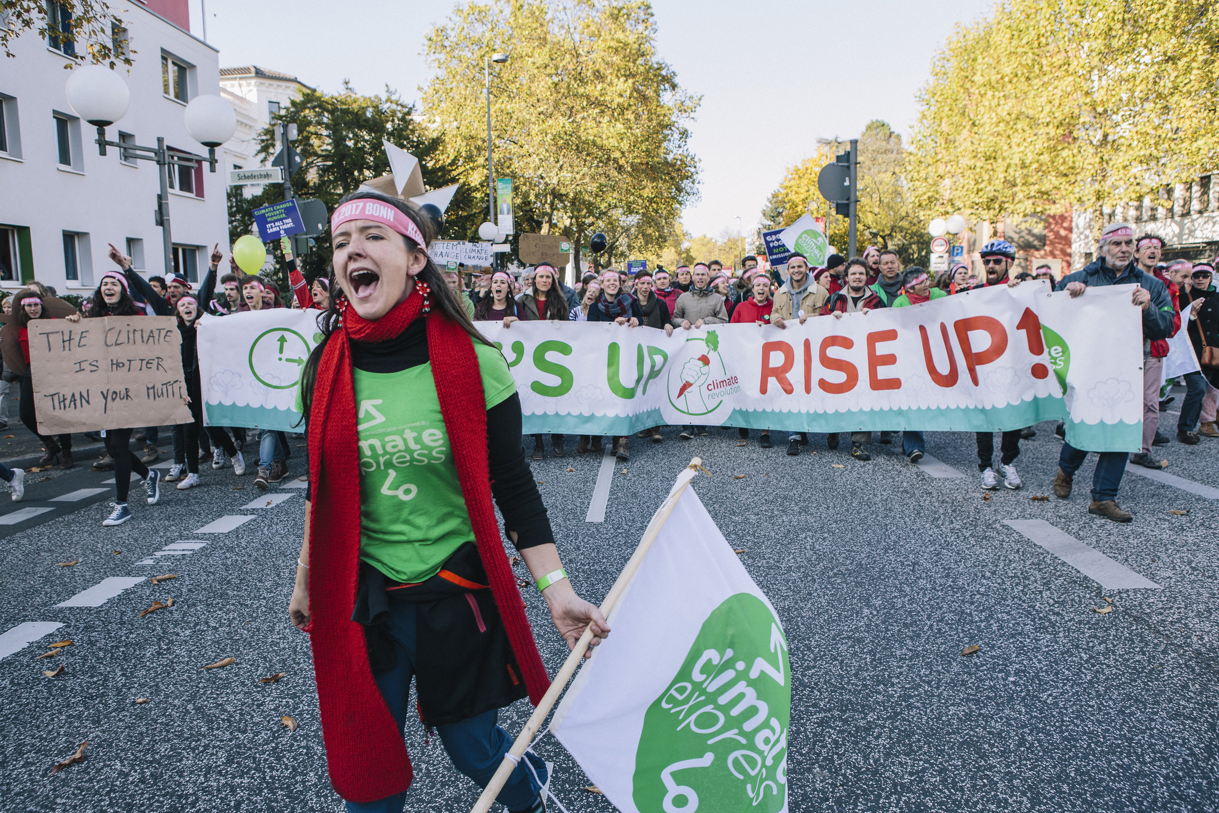 Protesters at the start of the Climate Conference in Bonn, 2017