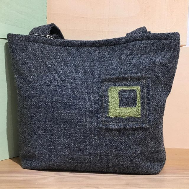 Tweed tile bag designed by Penelope #tweed #handbag #unique #penelopedesigns #sixseasonsgallery #artisansatmaws #mawscraftcentre