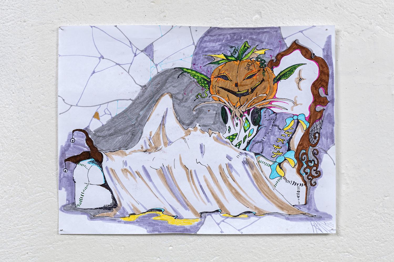 Will Sheldon Lil pumpkin sleepy: nigHT 1 2017, Pen and ink, 22 x 28 cm