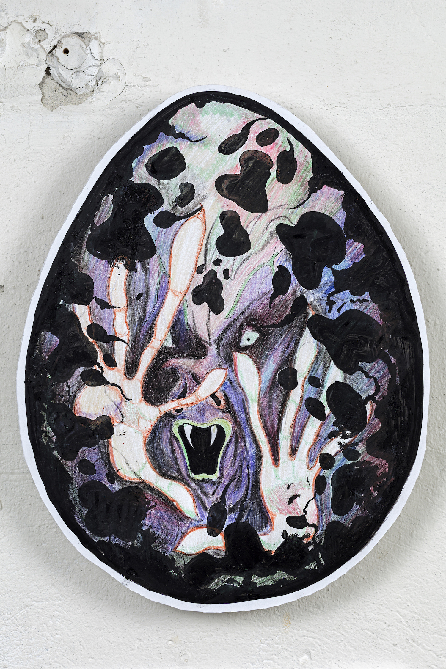 Will Sheldon Creature in an egg 2017, Foamcore, ink, crayon, size variable