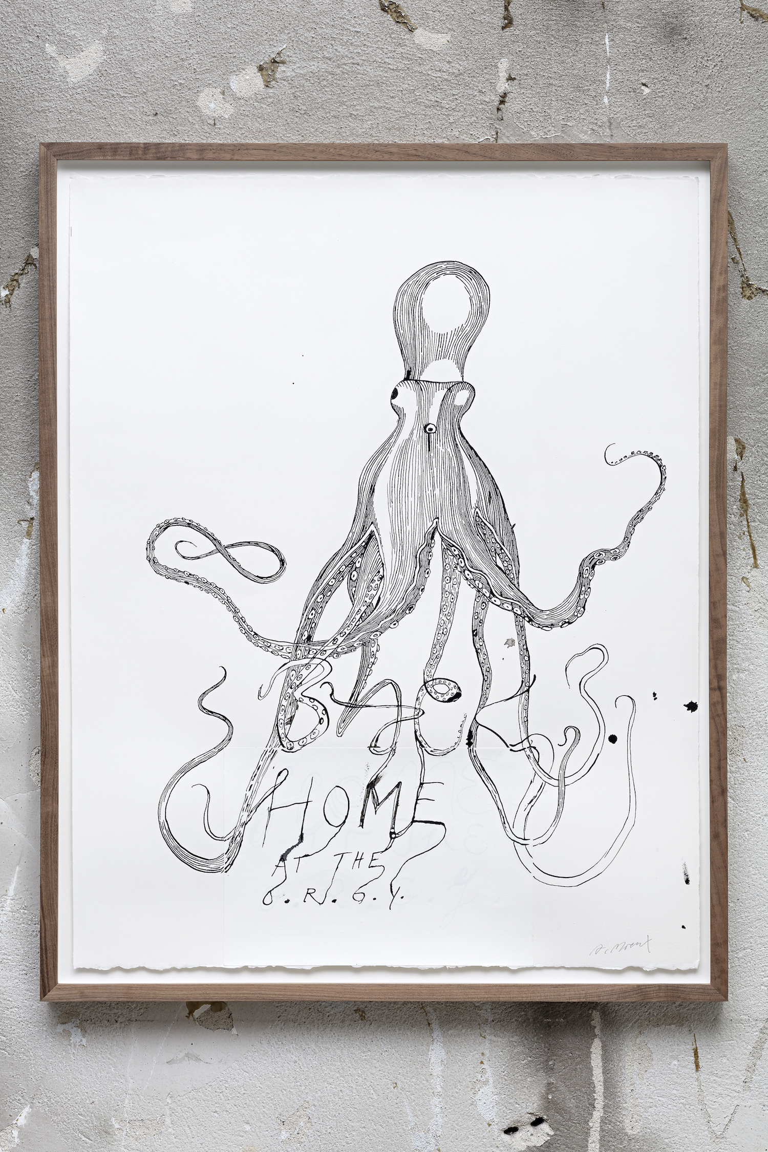 Agnes Moraux Back home at the O.R.G.Y 2017, Indian ink on paper, 66.5 x 52 cm