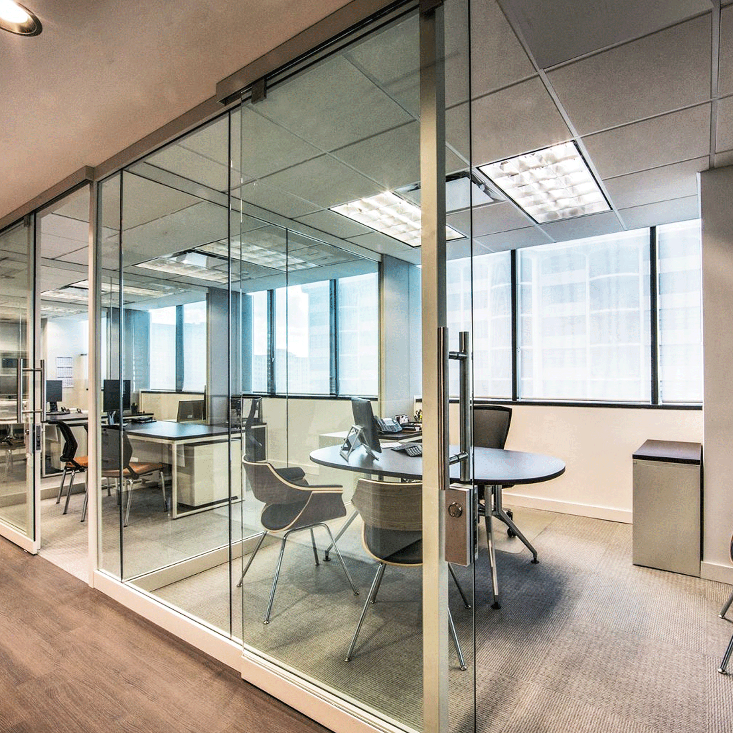 Lightline   Lightline  is a pre-assembled, unitized glass wall system dedicated to the enhancement of light. Its seamless connections maximize natural light for brighter, more efficient spaces while providing visual unification between architecture and furniture.