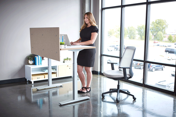 KI Furniture's Universal Height-Adjustable Screens, Oath Task Chair, and WorkUp Height Adjustable Table