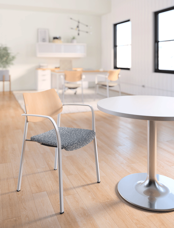 2. Katera   Designed to follow the curves of the human body, Katera's built-in contours fit the user. Its well-proportioned frame invites those of any size to sit with ease. Mix and match materials for aesthetic options - seat and back are available in poly, wood, and upholstered versions; frames are available in powdercoat or chrome finishes. Katera chairs are ideal for distinctive cafeterias, third spaces, meeting areas, and offices.