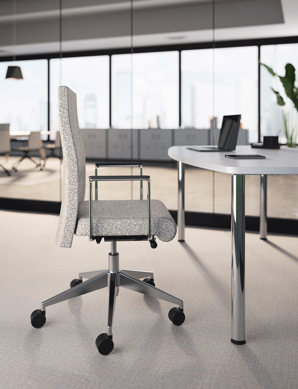 4. Voyant   Voyant has a timeless, sleek profile that adds a distinguished look to executive offices, boardrooms and conference or meeting areas. Conference-style chairs maintain a refined meeting room presence with an auto-return seat, self-weighing tension and seat height adjustment. Executive-style task chairs provide individualized comfort with adjustable synchrotilt tension, seat height, seat depth and fixed or adjustable back height.