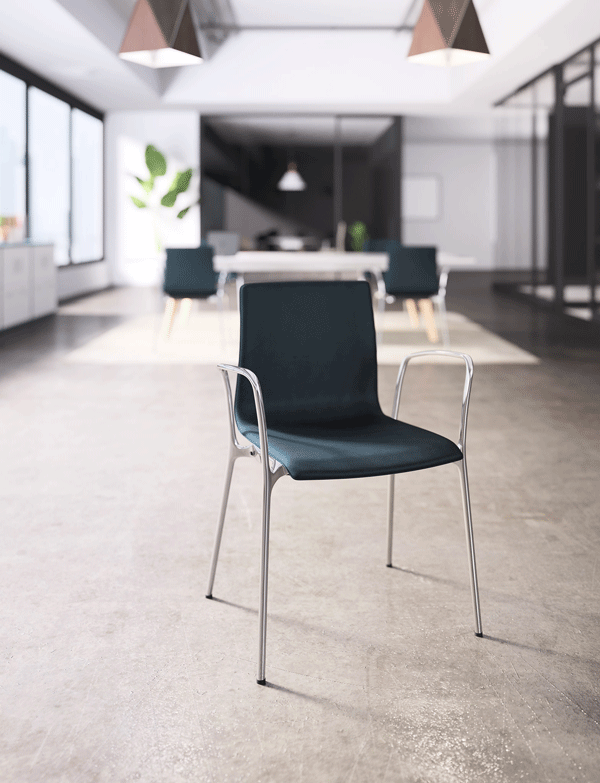 5. Voz   From casual to formal, Voz adapts to various moods and spaces. Voz delivers timeless appeal, comfort and refinement with a sleek, sophisticated profile. Voz seating supports a variety of functions with 4-leg or swivel base chairs with arms or armless. Tailor Voz to your space with a selection of wood finishes, frame finishes and an array of upholstery options.