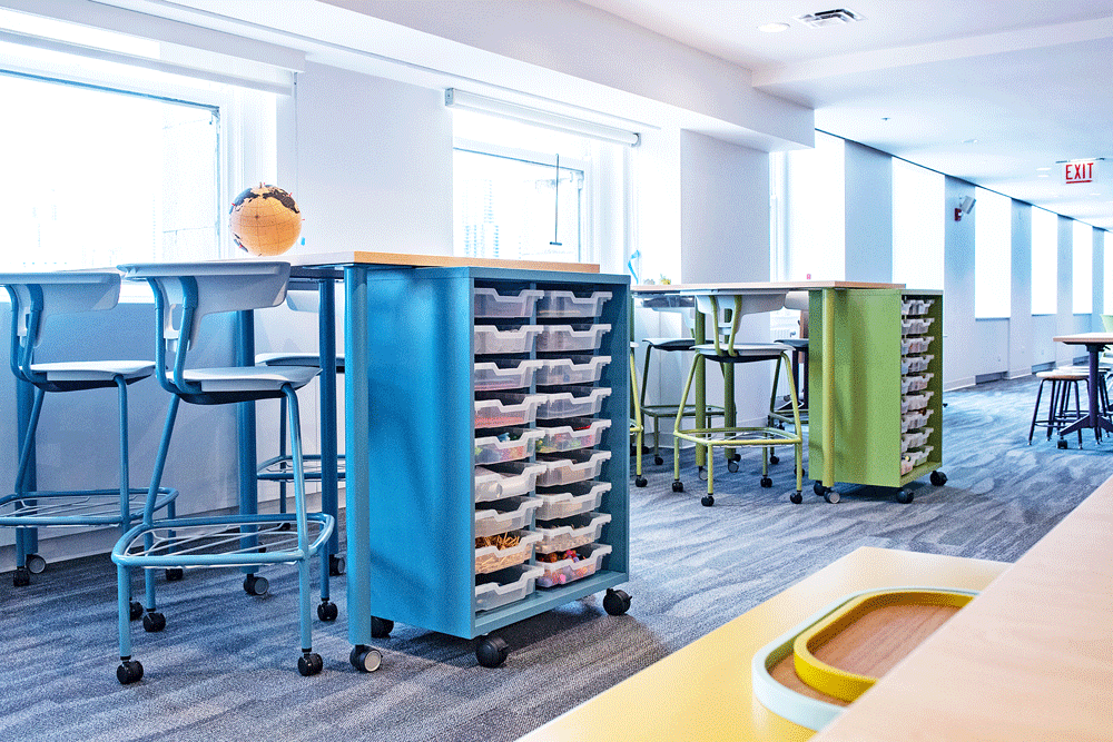 1) Organized Storage.  Ruckus Worktables by KI Furniture can not only be movable, they also provide ample storage in classrooms. Creating organization for all types of learning spaces, work tables are ideal for classrooms, makerspaces, libraries, science labs, art rooms, and more.