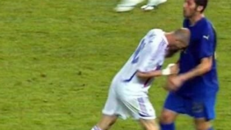 Zinedine Zidane headbutts Marco Materazzi in the final game of the World Cup 2006