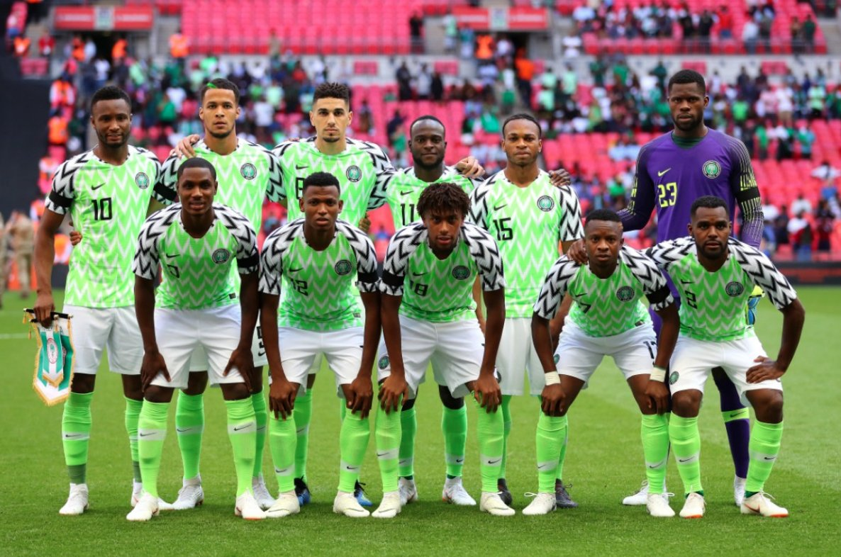 Nigerian Super Eagles in their World Cup 2018 jersey designed by Nike