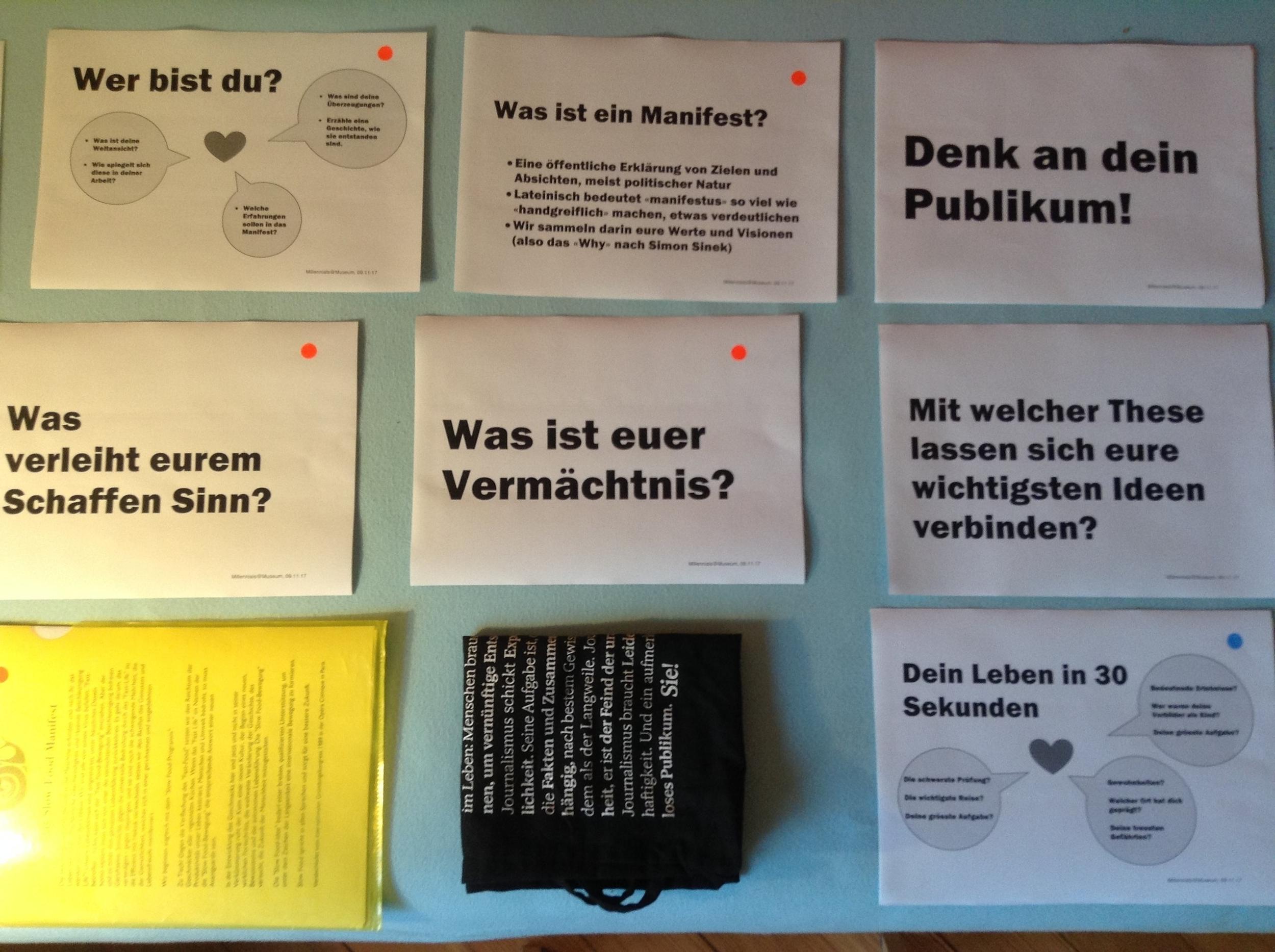 Visionen und Ziele, sag es mit einem Manifest: Workshop für ein Zürcher Start-up.