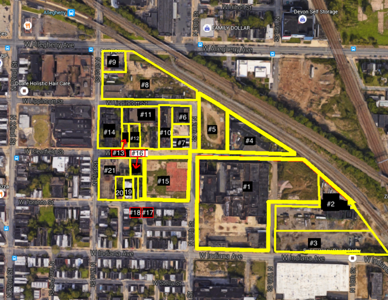A land assemblage of approximately 10 +/- acres is possible. The potential assembled areas are highlighted in orange [x] and broken down into individual owners and respective land areas and acquisition costs. Substantive sale conversations have begun with all neighboring land owners and information is to be provided under separate copy.