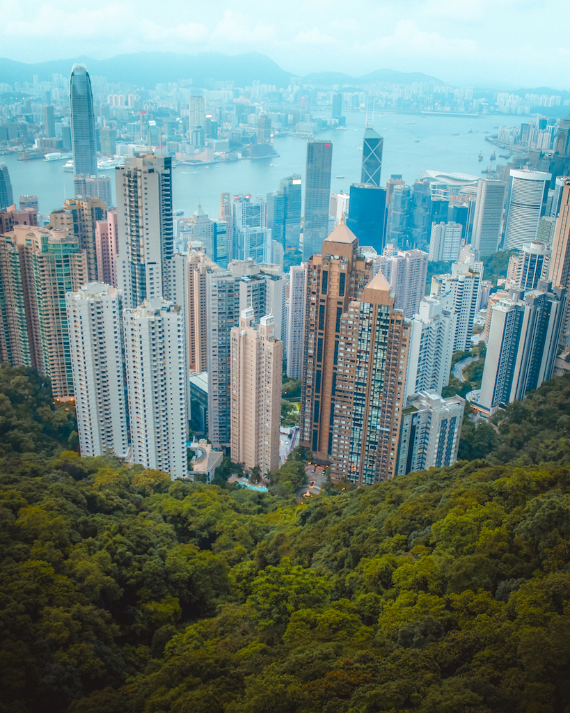 Capture the iconic panorama of the Hong Kong skyline at The Peak.