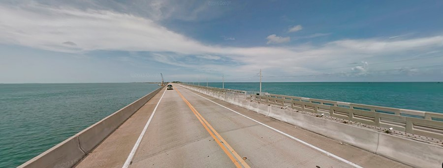 The two-lane Overseas Highway heading to Key West