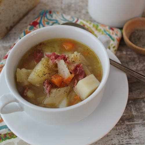Delicious ham hock and cabbage soup