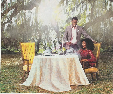 This visual appeared in an ad promoting the charm of Savannah, Georgia – known for its live oak trees and antebellum architecture – courtesy of  The Condé Nast Traveler,  February 2019