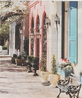 A charming Charleston street scene pictured in one of their ads – courtesy of  Southern Living,  February 2019