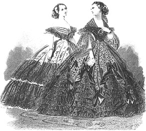 Traditional Victorian hoop skirts were embellished with ribbons and bows