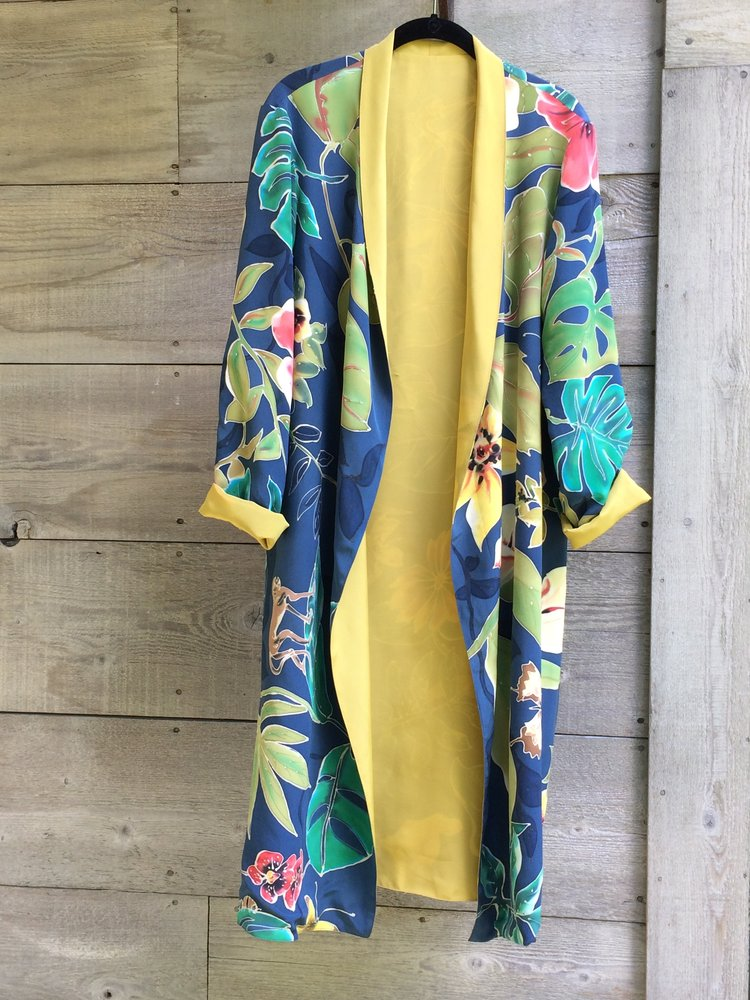 Hand painted silk kimonos and tunics