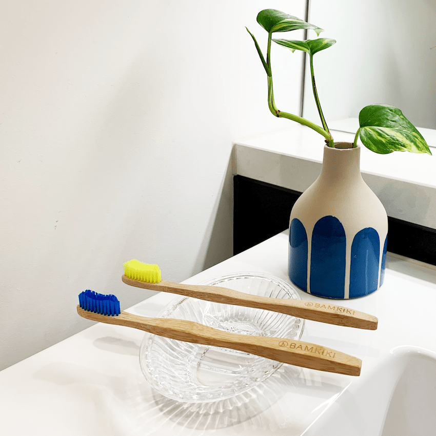 To keep it dry, don't put it into a toothbrush container. Instead, place it over a stone or a glass bowl.