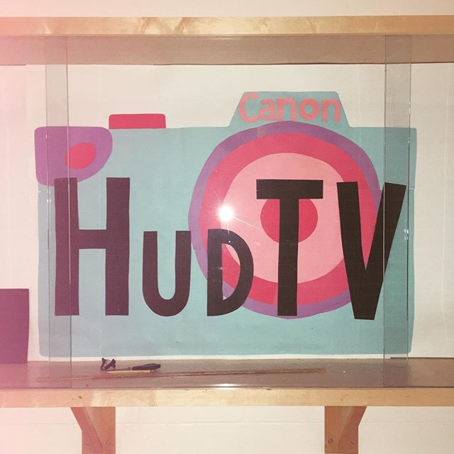 Working on a new display for the HudTV studio! • • • • • #internship #hudtv #filminternship #camera #display #colorful #canon #canoncamera