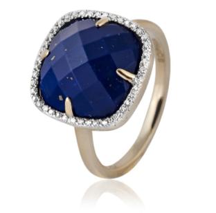 Sophia by Design Lapis Ring 14k Yellow Gold 0.13 CT Diamonds 4.00 CT Lapis