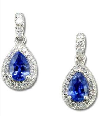 Parlé 14K White Gold Ceylon Sapphire Diamond Earrings