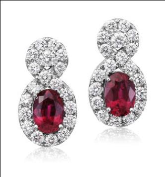 Parlé 18K White Gold Mozambique Ruby Diamond Earrings