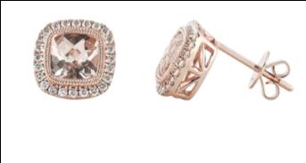 Sophia by Design 14k Rose Gold Monterey 1.57 CT Morganite 0.31 CT Diamond Stud Earring