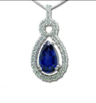 Parlé 18K White Gold Ceylon Sapphire Diamond Pendant
