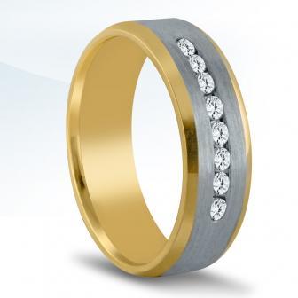 1/3ctw diamond band 14k yellow and white gold 7mm.