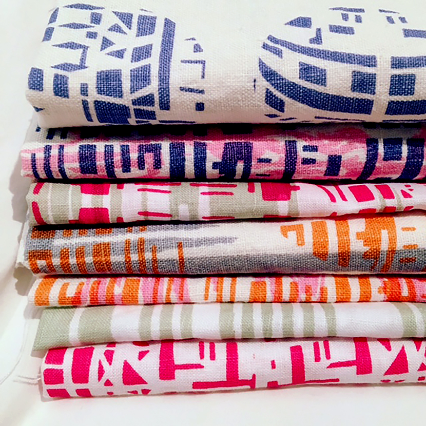 Stack of printed textiles