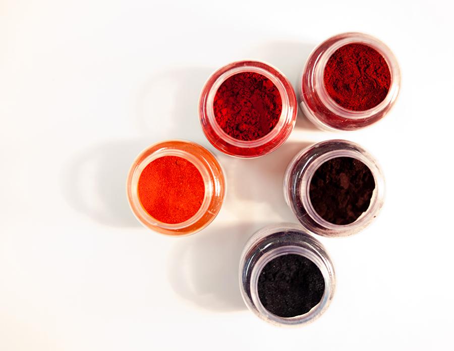 Jars of paint powder