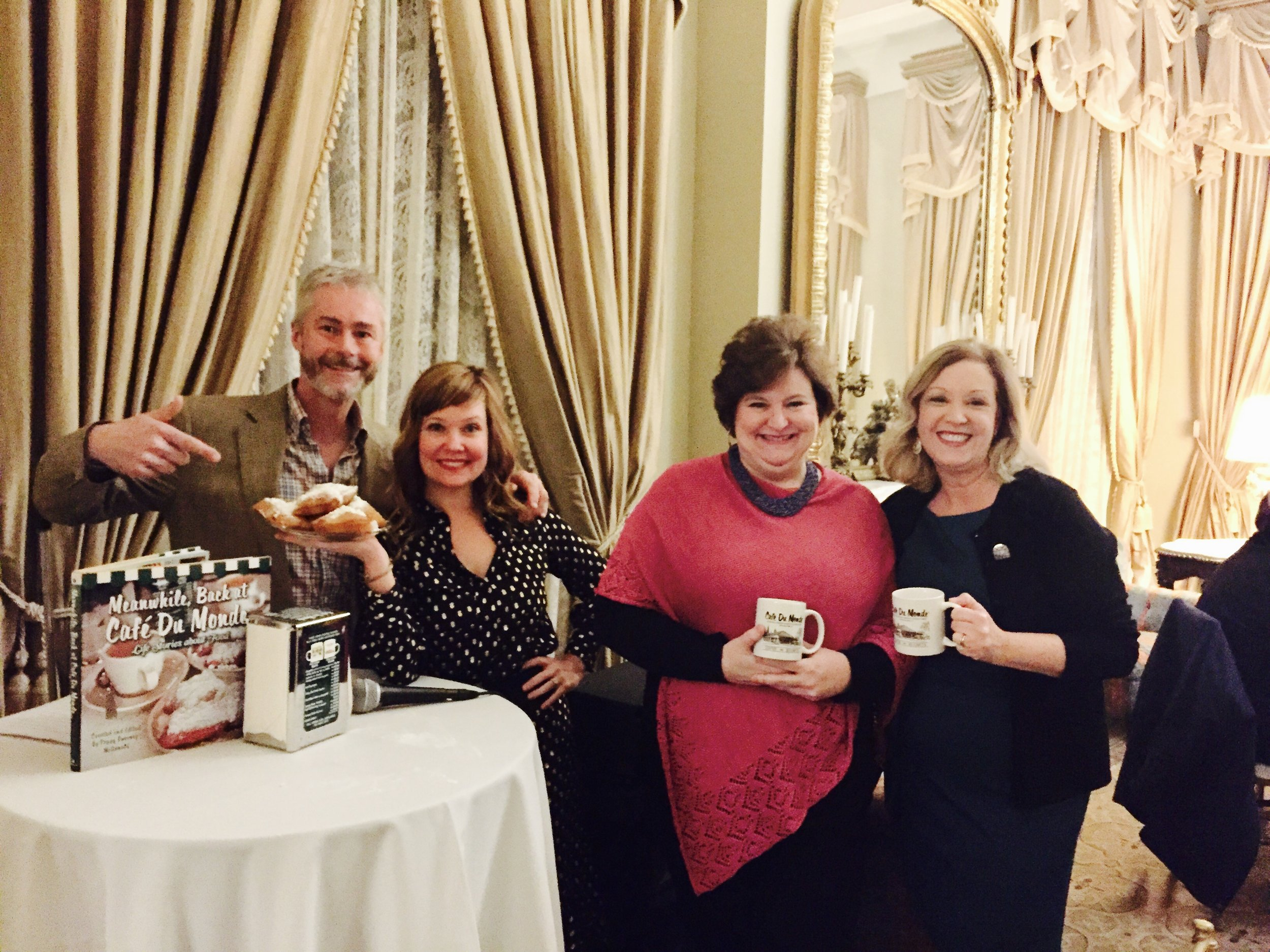 The cast of Meanwhile, Back at Cafe Du Monde... at Dunleith Plantation for the Preserve Louisiana Natchez Cultural Tour (from left to right) James Fox-Smith, Fairleigh Jackson, Lynn Taylor and Peggy Sweeney-McDonald