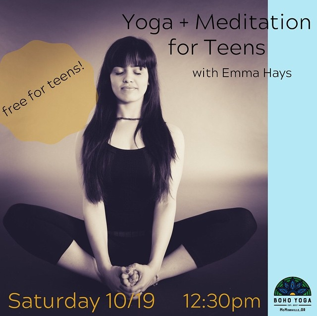 See you on the mat tomorrow for some free teen yoga! 💛 Learn how to regulate emotions, stay comfortable in your body, gain sharper focus & have some fun! The lovely Emma Hays @_emhays will be your guide. Free for teens & tweens.