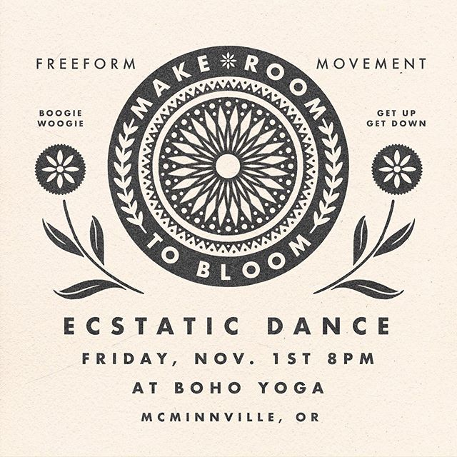 Ecstatic dance is 9 days away! We hope you'll come shake it with us! 💃🏻 Stay tuned for the possibility of a post Thanksgiving Dance on 11/29! Thanks @mcharlesart for the awesome graphics and for hosting this event!!