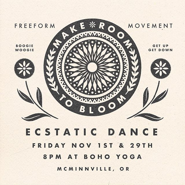 Ecstatic dance is 9 days away! We hope you'll come shake it with us! 💃🏻 Also!! A post Thanksgiving Dance on 11/29! Thanks @mcharlesart for the awesome graphics and for hosting this event!!