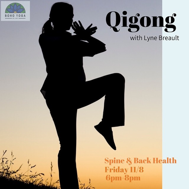 Next up in Lyne Breault's Qi Gong series, Spine & Back Health. Register for this event through our website. Can't make it to this workshop? Check out Lyne's regularly scheduled Taichi/Qigong class- 11 am Sundays (except this sunday 10/27) 🌟