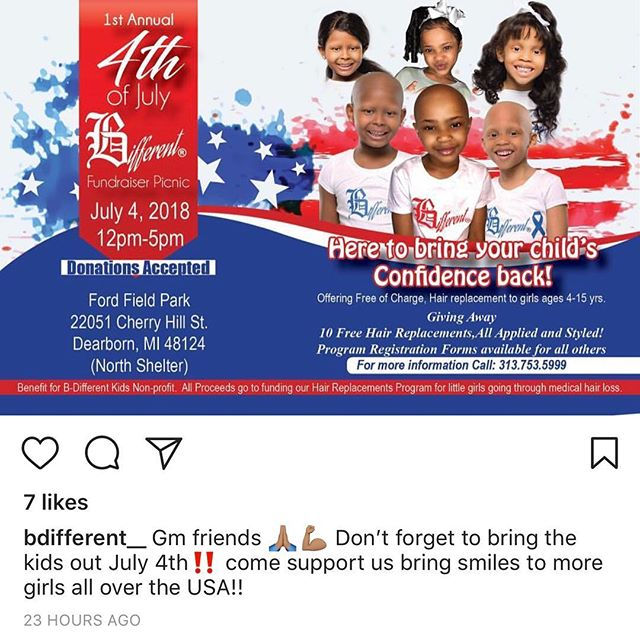 Hello I usually don't start to far away from lashes on my page but this event really touches my heart! If you would like to donate to this amazing cause cashapp $bdifferentkids !! . . . . #mneyelashextensions #lashmaker #wigmakers #kids #medicalcondition #alashabovetherest #lashes #hair #love #businessowner #support #bdifferentkids #detroithairstylist #detroit #mnartist