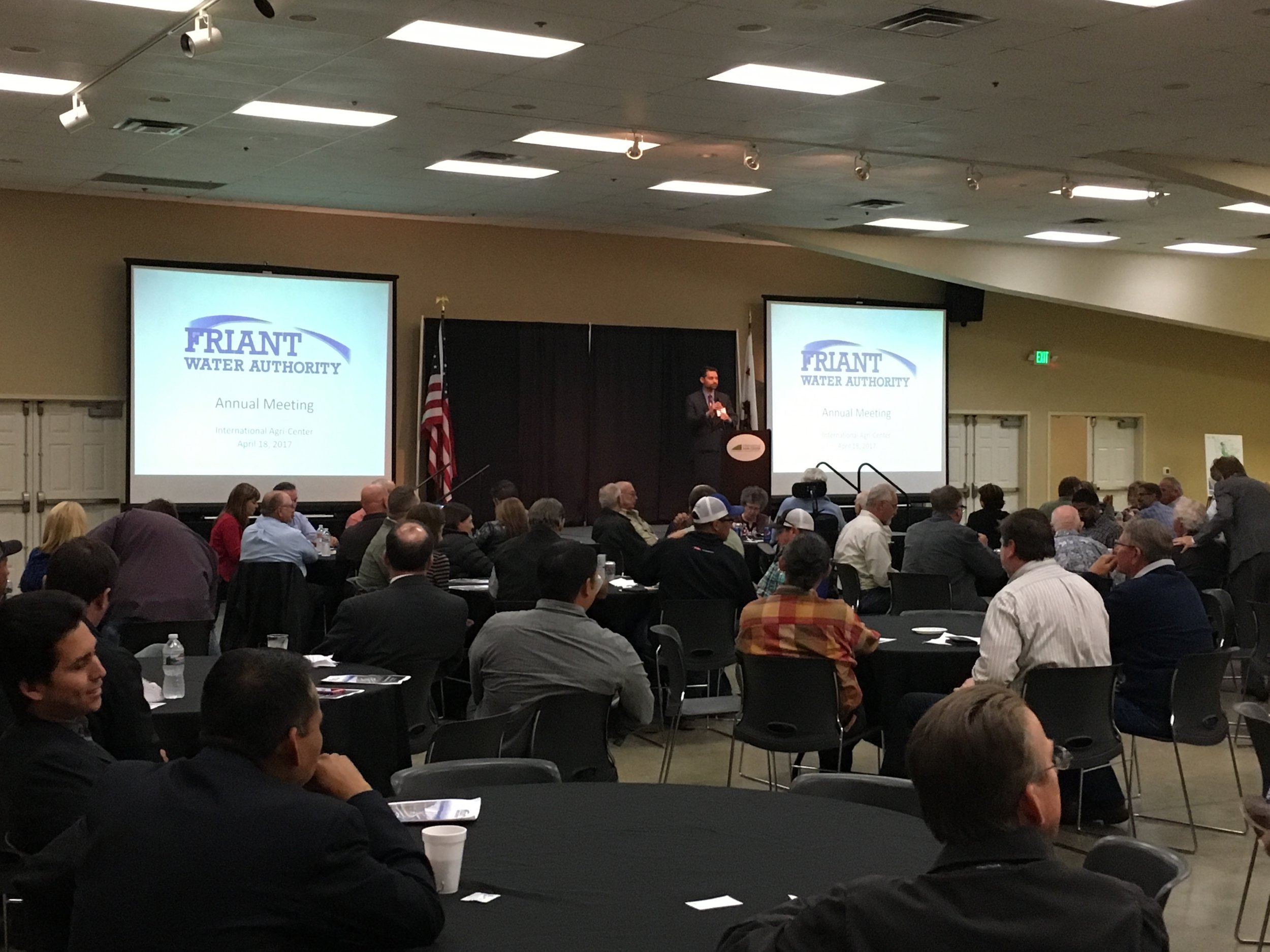 Jason Phillips addresses the Friant Divisionduring FWA's first Annual Meeting in 2017 at the International Agri-Center in Tulare.