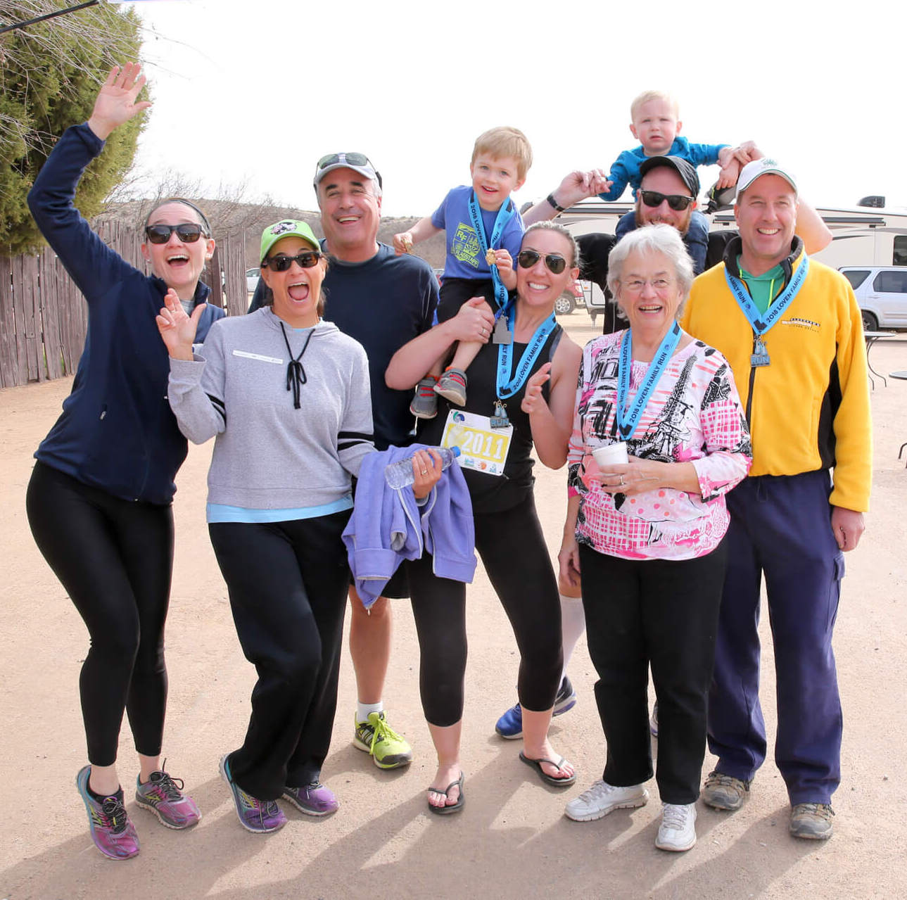 Mike Loven (3rd from left) and his family at the Loven Family Run.  Members of the Loven family: Whitney Sheen, Kirsten Loven-Butzow, Mike Loven, J.R. James, Ashley Sheen, Pat Loven, Richard James, Elliot James, and Steve Butzow